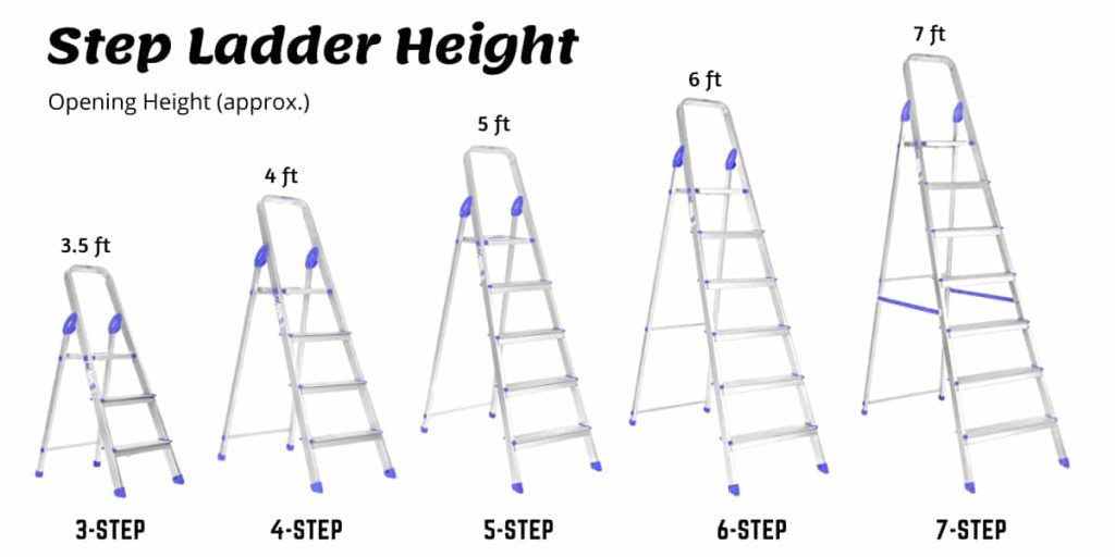 step ladder height and size