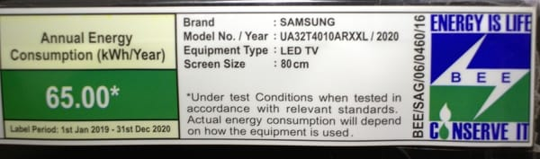 annual energy consumption of 4K TV