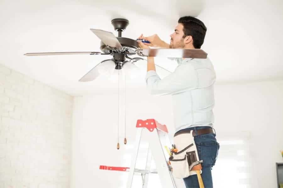 installing a designer ceiling fan