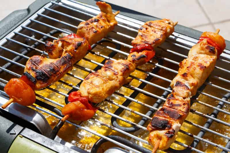 kebab in electric barbecue grill