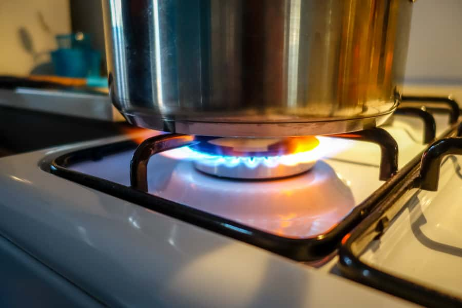 cooking on gas stove