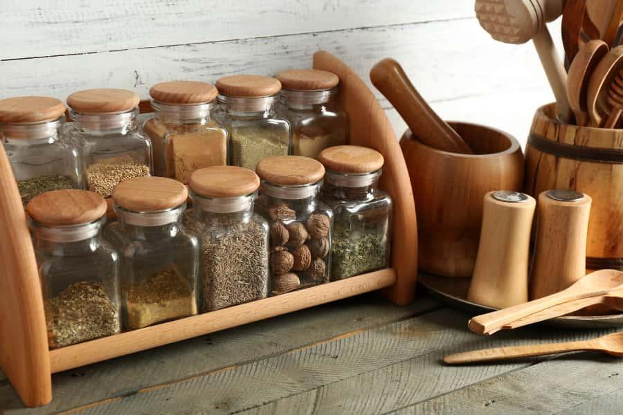 storage rack in kitchen