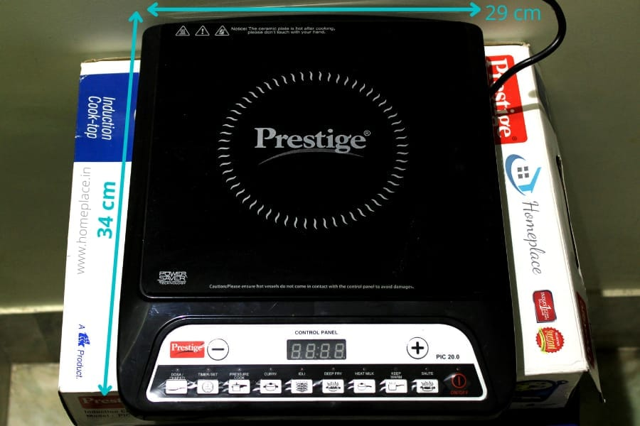 size of Prestige PIC 20 Induction Cooktop