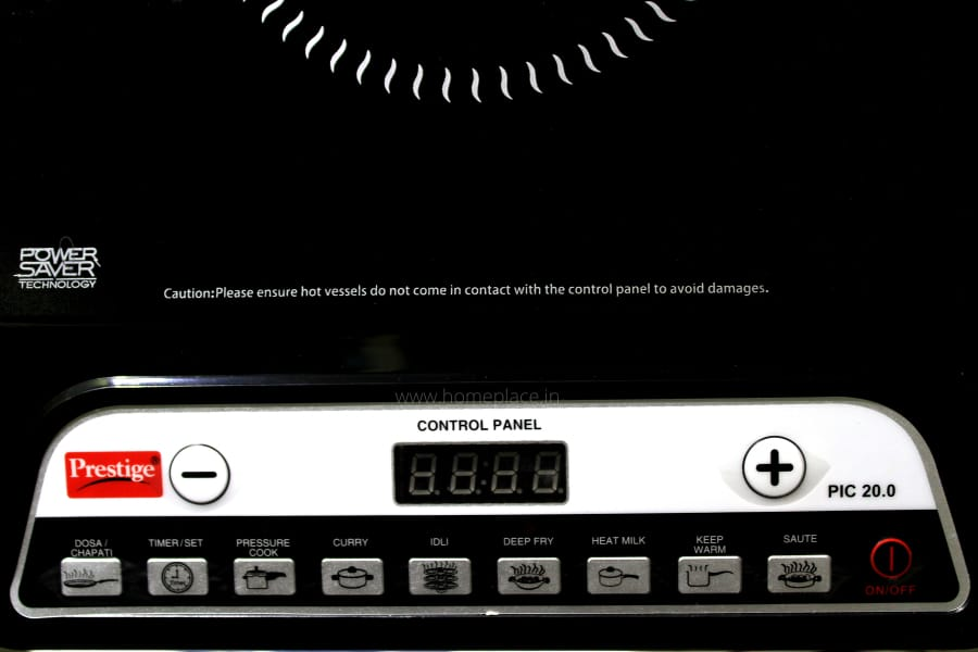 the control panel of Prestige PIC 20 Induction Cooktop