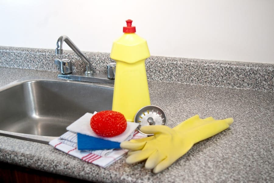 cleaning kitchen