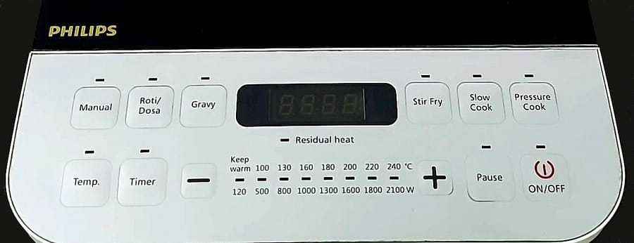 control panel and menu of Philips Viva Collection HD492801 induction cooktop