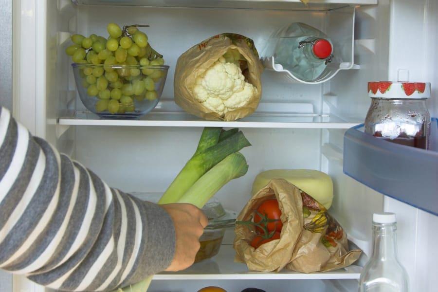 double door refrigerator in kitchen
