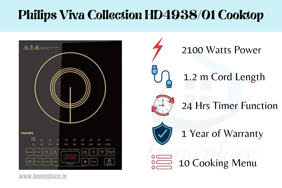 features of Philips Viva Collection HD493801 Induction Cooktop