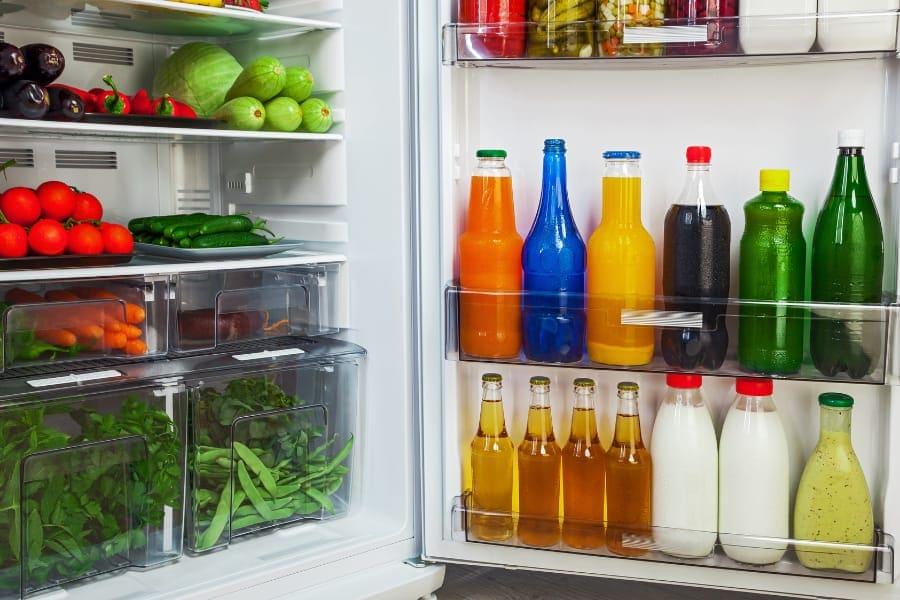 shelves in a refrigerator