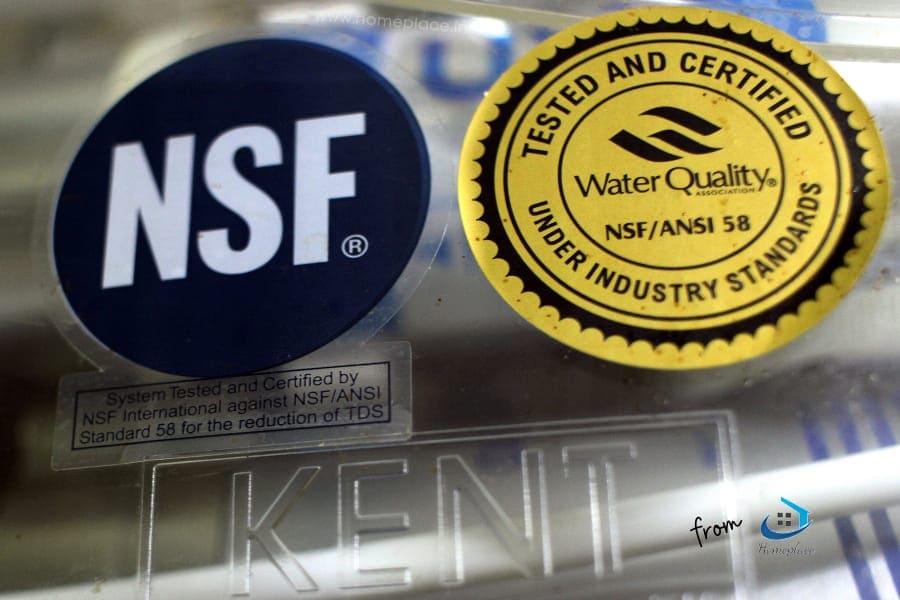 NSF certification of Kent water purifier