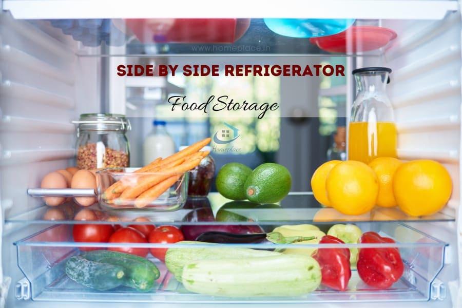 food storage in side by side refrigerator
