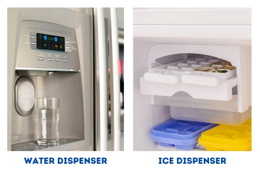 ice and water dispenser of side by side refrigerators