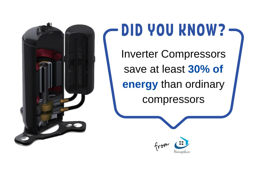 inverter compressors save at least 30% more energy than ordinary compressors