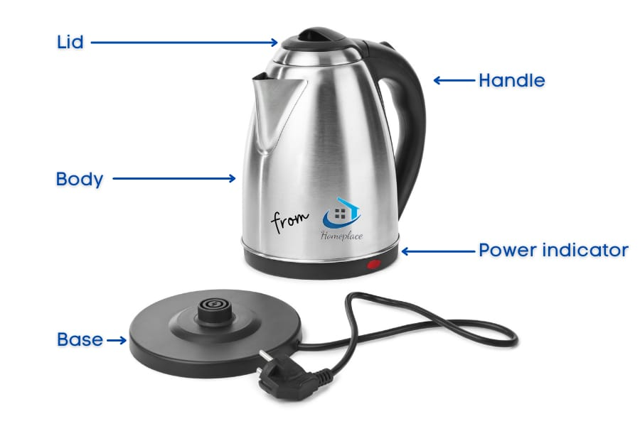 parts of an electric kettle- lid, base, handle body and power indicator